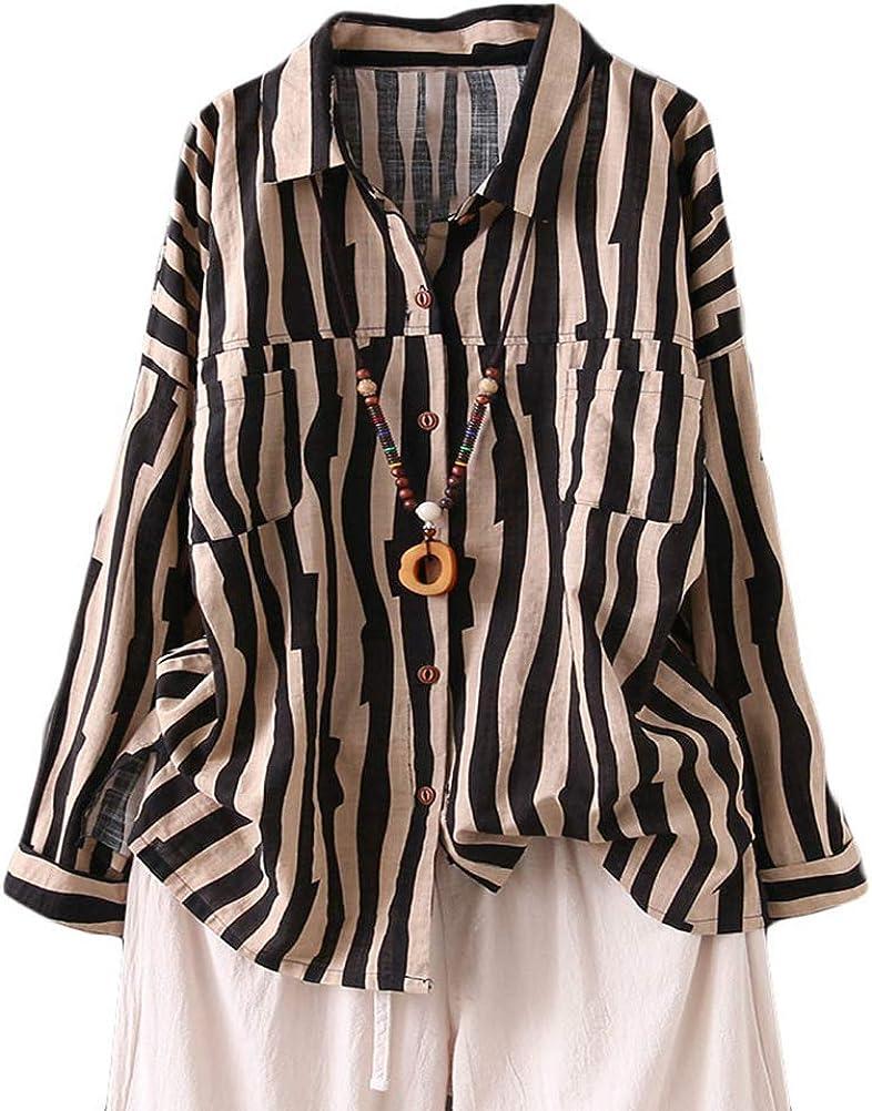 Minibee Women's Cotton Linen Striped Shirt Button Down Blouse Long Sleeve Tops with Pockets