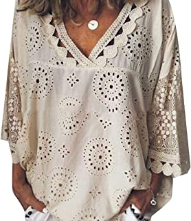Suncolor8 Womens V Neck Hollow Out Plus Size Loose 3/4 Sleeve Blouse Top T-Shirt