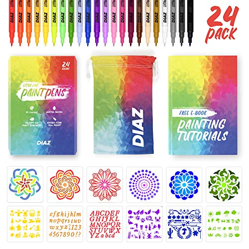 24 Acrylic Extra Fine Tip Paint Pens | Paint Markers Come With Free Stencils, Carry Case, & E-Book | Markers for Rock Painting, Stone, Metal, Ceramic, Porcelain, Glass, Wood, Fabric, Canvas