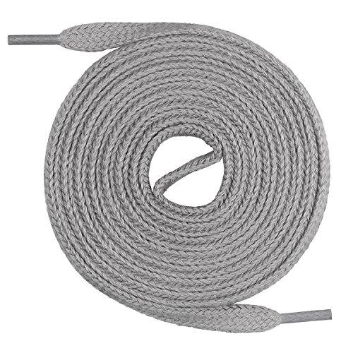 Mount Swiss Flache Schnürsenkel aus 100% Baumwolle für Sneakers und Sportschuhe - sehr reißfest - 7 mm breit Farbe Grau Länge 120cm