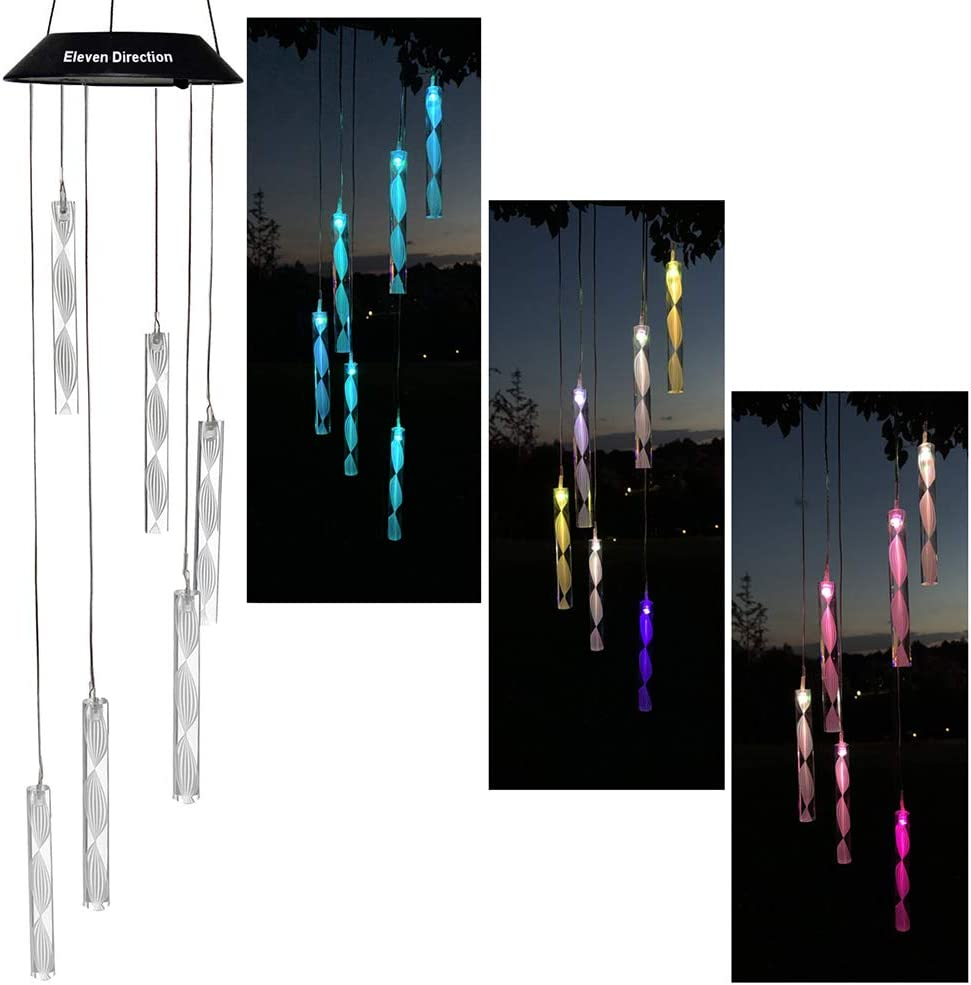 Eleven Direction Solar Wind Chimes,Auto Changing Colors Spiral Stripe Lights,Gift for Mom/Grandma Wife,Garden Mobile Decorations for Yard Lawn Patio Outdoor Party