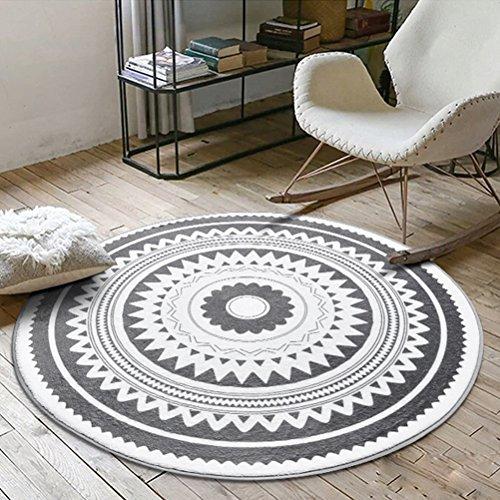 Peijco Teppich-runder Teppich-Kaffeetisch-Schlafzimmer-Beleg-Matten-Stuhl-Kissen (Color : #1, Size : 120cm)