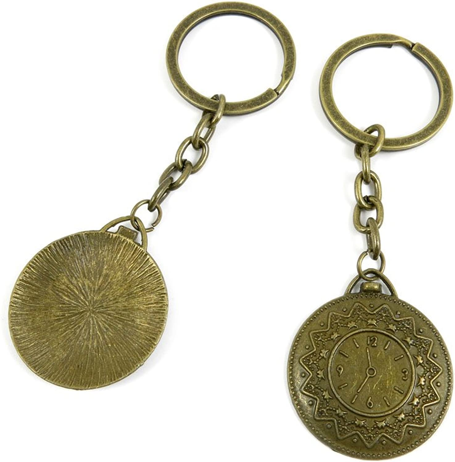 100 PCS Keyrings Keychains Key Ring Chains Tags Jewelry Findings Clasps Buckles Supplies N2OJ5 Pocket Watch Clock