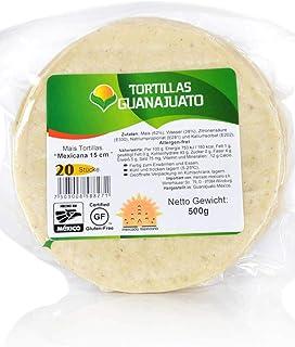 Weiße Maistortillas Mexicana Guanajuato glutenfrei, 15cm, 20 Stück 500gr.