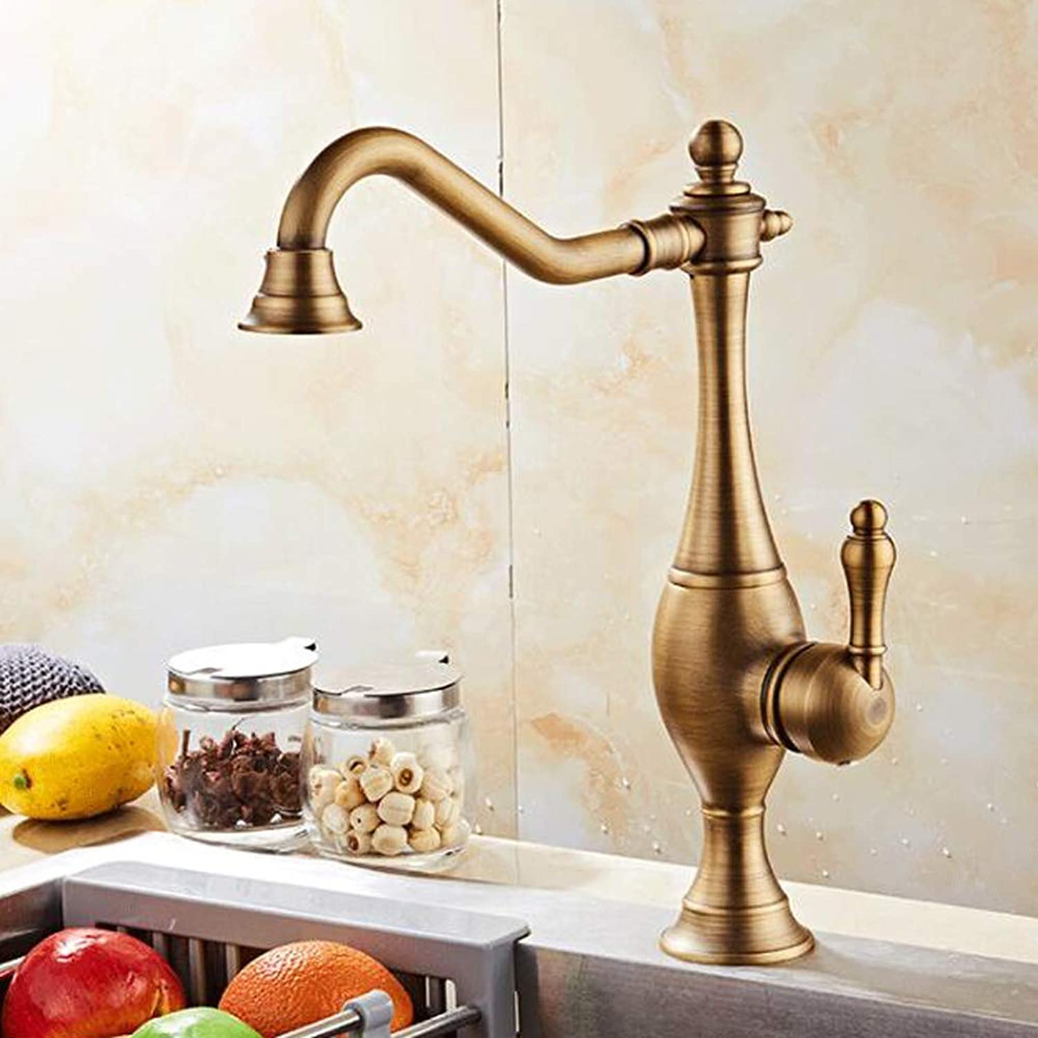 Bathroom Kitchen Sink Faucet,gold All-Copper 360° Swivel Kitchen Hot and Cold Brushed Plating Sink Mixer Taps.