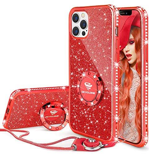 OCYCLONE Funda para iPhone 12 Pro MAX, Glitter Cristal Diamante Brillante y Soporte de Anillo para Niñas y Mujeres, Funda para Teléfono con Purpurina para iPhone 12 Pro MAX de 6.7 Pulgadas - Rojo