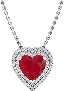 14K 8 MM Heart Lab Created Gemstone & Round Diamond Heart Double Halo Pendant, White Gold