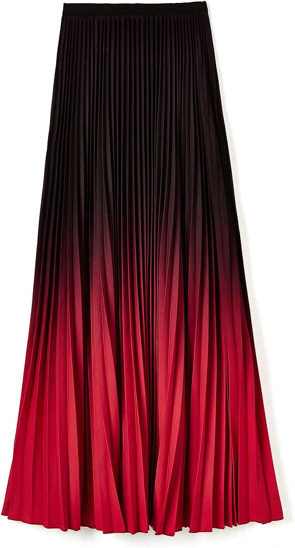 ebossy Women's High Waist Pleated Gradient Ruffled Hem Party Flowy Long Skirt