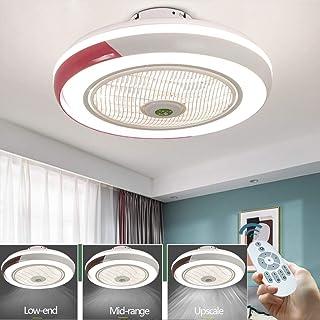 Ventilador De Techo LED Lámpara Creative Regulable Luz Del Ventilador Invisible Lámpara Plafon De Bajo Ruido Adecuado Para Sala De Estar Dormitorio Habitación Infantil Lámparas De Araña,Rosado