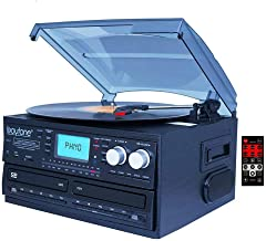 Boytone BT-29B, Bluetooth Dual CD Player and Recorder CD2 to CD1, AM/FM Radio Turntable Record Player 2 Built-in Stereo Sp...
