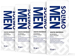 Marca Amazon - Solimo Men Crema hidratante facial Sensitive con aloe vera y extracto de raíz de regaliz 4x75ml