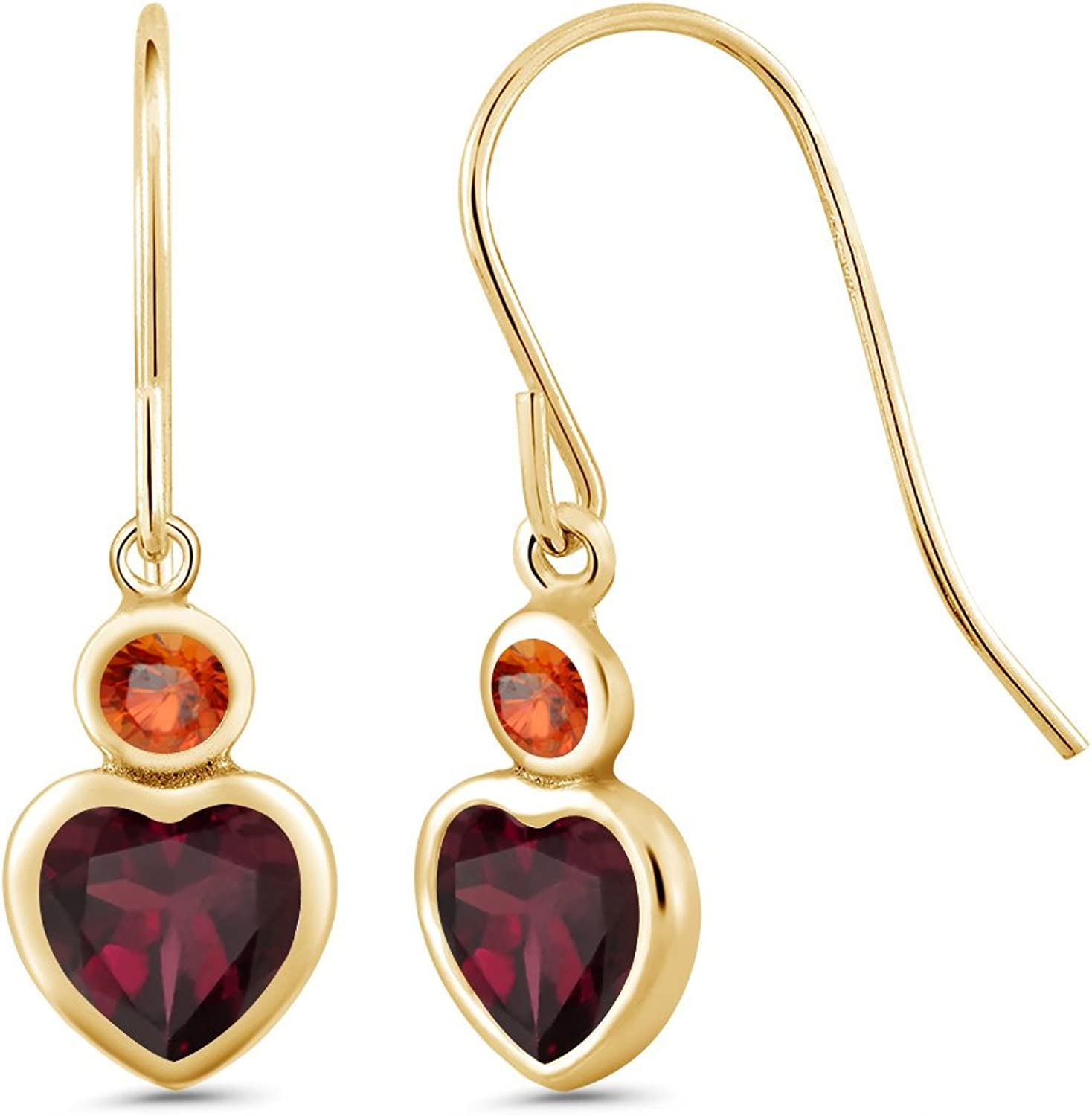 1.36 Ct Red Rhodolite Garnet orange Sapphire 14K Yellow gold Earrings