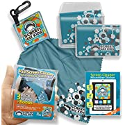 Clean Screen Wizard Microfiber Screen Cleaning Cloths for Kids, iPhone iPad Tabs Cleaning Kit- 4 PACK (Blue)