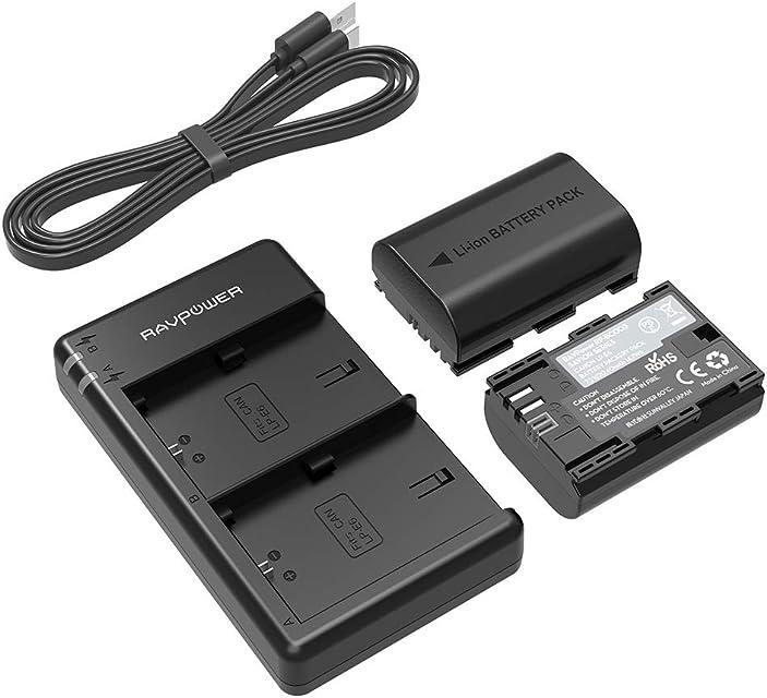 RAVPower Batería LP-E6 & LP-E6N 2-Pack 2000mAh con Batería Recargable para Canon Compatible com EOS 80D / 70D / 7D / 6D / EOS R EOS 5D Mark IV/Mark III / 5D Mark II etc.