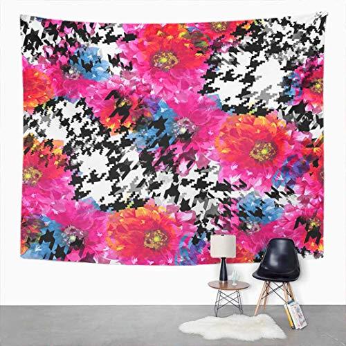 Y·JIANG - Tapiz abstracto, diseño de flores de pata de gallo, para decoración de hogar, dormitorio, manta para colgar en la pared para sala de estar, dormitorio, 50 x 60 pulgadas