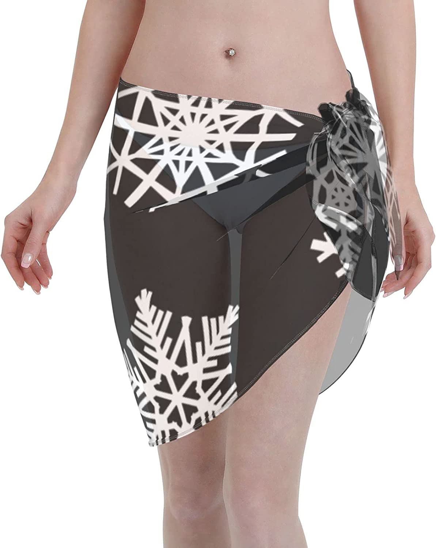 Women Short Sarongs Beach Wrap Snowflakes Bikini Wraps Chiffon Cover Ups for Swimwear