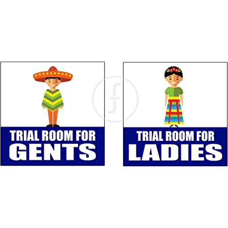 Fingerz Pack Of 2 Trial Room For Gents And Ladies Signage Wall Sticker Sign Mall Office Multi Colored High Resolution Image Decal 6 X 6 Inch Amazon In Office Products