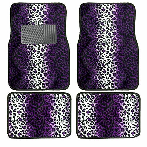 A Set of 4 Universal Fit Animal Print Carpet Floor Mats for Cars / Truck - Purple Leopard