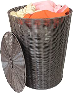 TIANLONG Storage basket Laundry Basket Storage Basket Plastic Rattan Clothes Toy Storage Large Handle  Color Brown  Size