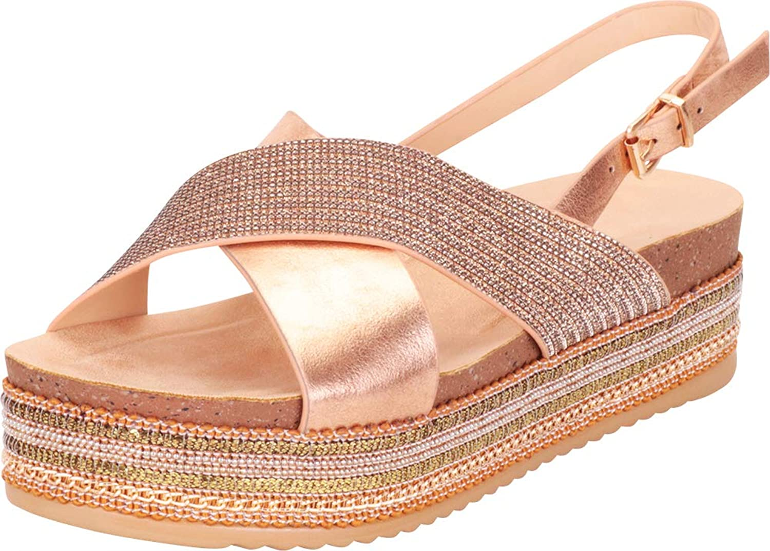 Cambridge Select Women's Open Toe Strap Crisscross Slingback Beaded Chain Mixed Media Flatform Sandal