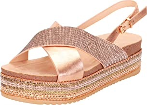 Cambridge Select Women's Open Toe Strap Crisscross Slingback Beaded Chain Mixed Media Flatform Sandal