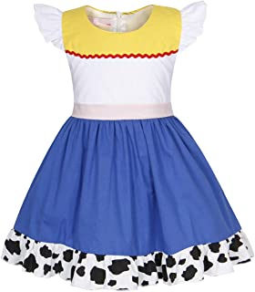 Jurebecia Girls Toddler Jessie Costume Dress Jessie Dress Up Halloween Costume Fancy Dress 1-10 Years