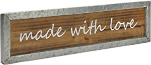 MyGift Rustic Burnt Wood and Galvanized Metal Wall Sign Decoration with White Cursive Made with Love Words