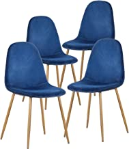 GreenForest Dining Chairs for kitchen, Mid Century Modern Side Chairs,Velvet Upholstered Dining Chair with Metal Legs set of 4,Blue