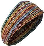 Gheri - Fascia doppia per capelli, lunga ed elasticizzata, utilizzabile come bandana, multicolore Colore: verde e arancione. Taglia unica