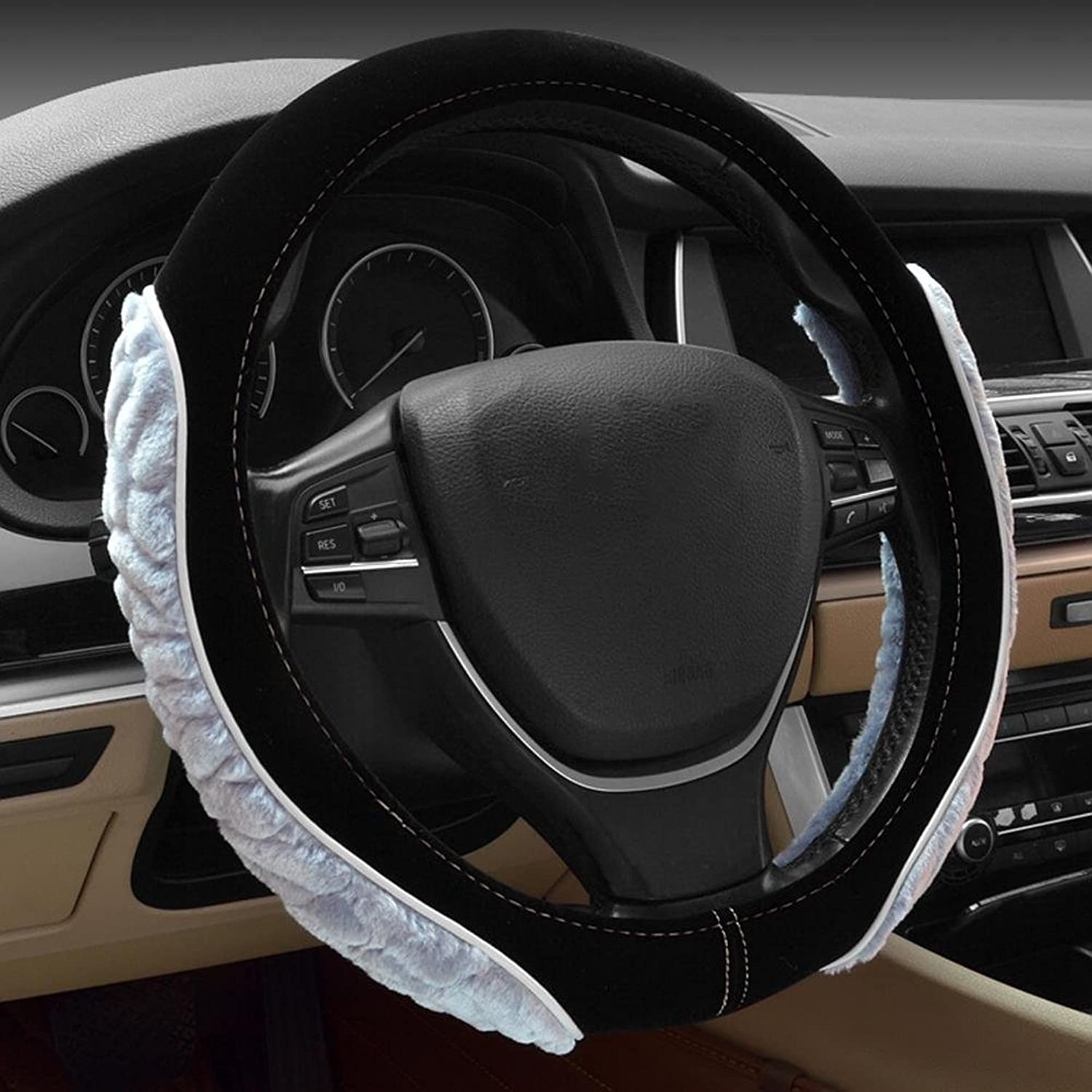 Auto Accessories 2018 Car Steering Wheel Cover 3D Plush Sports Premium Car Handle, Black White