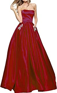 TTYbridal Women's A-Line Strapless Beaded Prom Dresses Long Satin Homecoming Party Gown with Pockets P3
