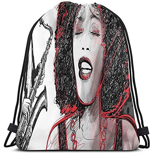 Lemotop Rugzakken Zakken, Afro-Amerikaanse Meisje Zingen Met Saxofoon Speler Populaire Geluid Ontwerp, Verstelbare String Sluiting