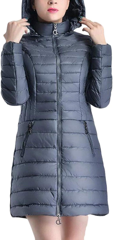 Gocgt Womens Lightweight Hooded Mid Long Jacket Zipper Quilted Puffer Down Coat