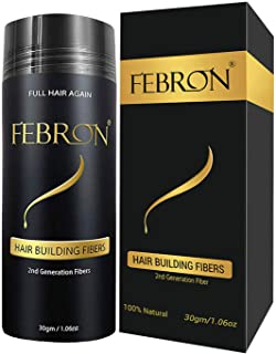 FEBRON Hair Fibers For Thinning Hair BLACK Giant 30G For Women & Men Hair Loss Concealer Hair Powder Volumizing Based 100%...