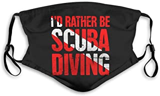 IuER90@E I'd Rather Be Scuba Diving Pm2.5 Face Bandana Men Women 5-Layer Activated Carbon Filters Breathable Scarf Shield
