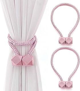 COOLPEEN Lot de 2 embrasses de rideaux magnétiques de style octogonal, 45,7 cm de long en corde décorative, rideaux décora...