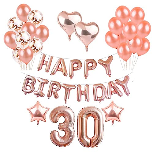 Toupons Balloons Party Decorations Set Birthday Rose Gold 30th Happy