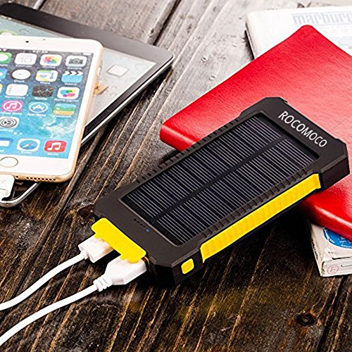 YOUNGFLY Dual 20000mAh Solar Charger Sunpower Panel Power Bank Waterproof, Dust-Proof and Shock-Resistant Led Light, With Compass + USB Cable + Hook (Yellow)