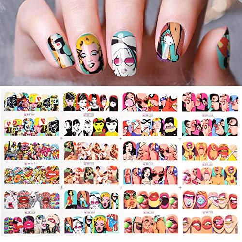 24pcs Nagel Sticker Nagel Aufkleber, Kalolary Valentinstag Thema Nagelaufkleber 3D Nail Art Wassertransfer Aufkleber agelabziehbilder für Frauen Mädchen Nail Decoration(B)