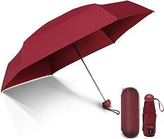 COMLIFE Paraguas Plegable Mini Travel Pequeño y Ligero Viaje Sombrilla Cápsula Caso Bolsillo Doble-Uso del Sol/Lluvia Antiviento para Niños y Adultos - Rojo