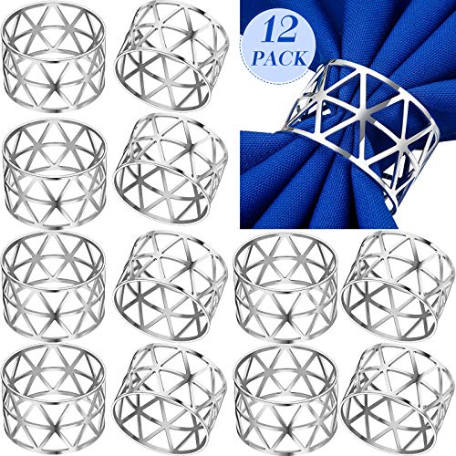 12 Pieces Hollow Out Napkin Rings Holders Napkin Ring Serviette Buckle Holder Household Metal Napkin Holder Adornment for Wedding Thanksgiving Christmas Party Dinner Table (Silver)