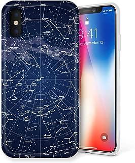 Litech™ Case for Apple iPhone Xs [Flexfit] Premium Scratch-Resistant Cute Creative Artistic Design (Constellation)