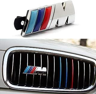 BMW M Front Grille Emblem, 3D Chrome Badge Metal Power Car Fashion Logo for BMW M M3 M5 X1 X3 X5 X6 E30 E34 E36 E39 E46 E60 E90 E92 (Silver)
