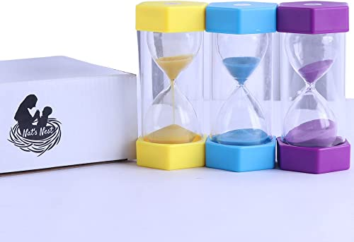 3 Piece Hourglass Sand Timer Set with 5, 15, 30 Minute Sand Timer. This Bright Coloured Set is The Perfect Visual Tim...