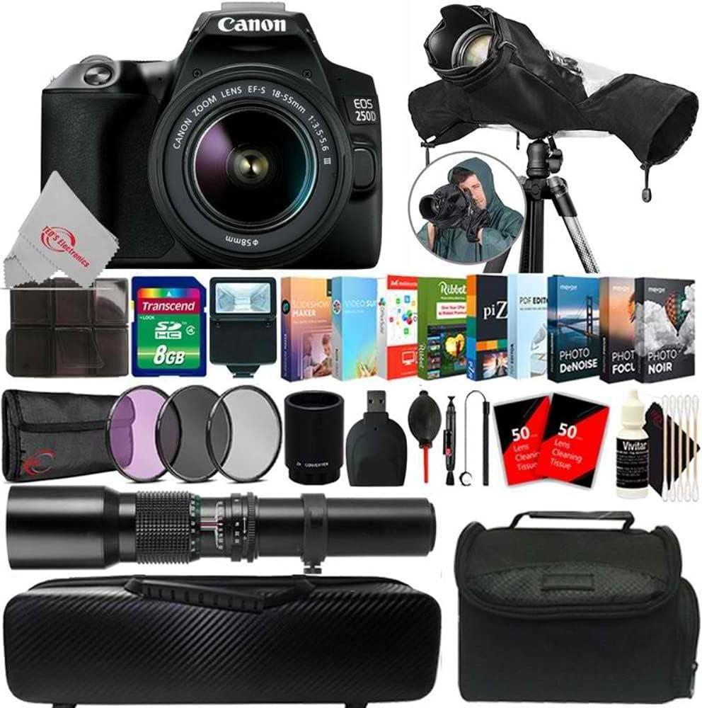 Very popular! EOS 250D 24.1MP DSLR Camera Cheap SALE Start + 500mm 18-55mm Ac Extended Lens