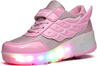 jlt Children Shoes Girls Boys Wing Led Light Sneakers Shoes with Wheel,Kids Roller Skate Shoes