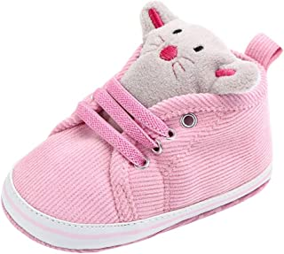 Baby Girls Boys Canvas Shoes Soft Sole Cartoon First Walker Infant Lace Up Sneakers Crib Shoes