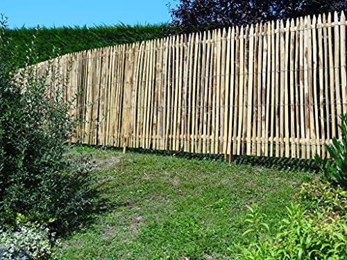 Set completo di recinzione in castagno, recinzione a doghe di legno di castagno, distanza tra le doghe di 2 cm, lunghezza della recinzione 5 m, altezza 200 cm, con paletti, boccole con viti e rampe