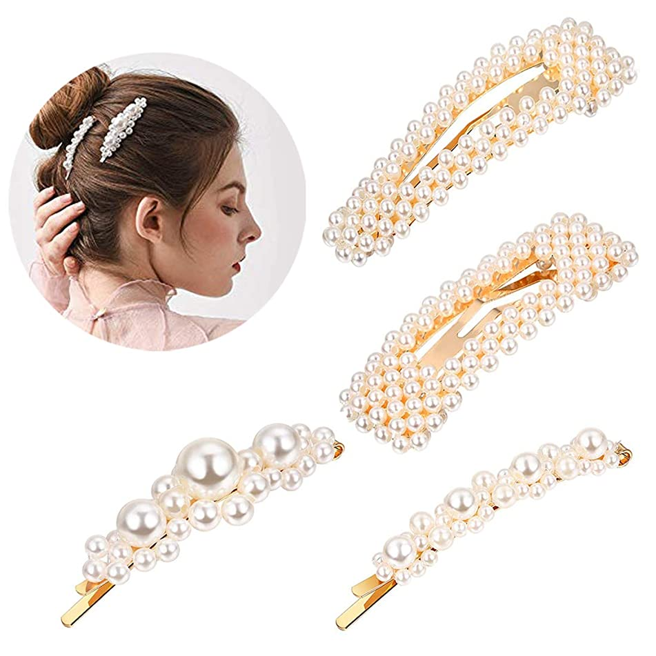 Pearls Hair Clips for Women Girls 4pcs Large Bows Ties for Birthday Valentines Day Gifts Hairpins Headwear Barrette