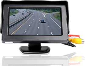 ATian 4.3 Inches Car Monitor TFT LCD Color Display Car Rear View Monitor Screen with 2 AV Input for Car Rear View Cameras, with Dash Mounting Stand and 3M Sticker, Fit for Almost All The Vehicles
